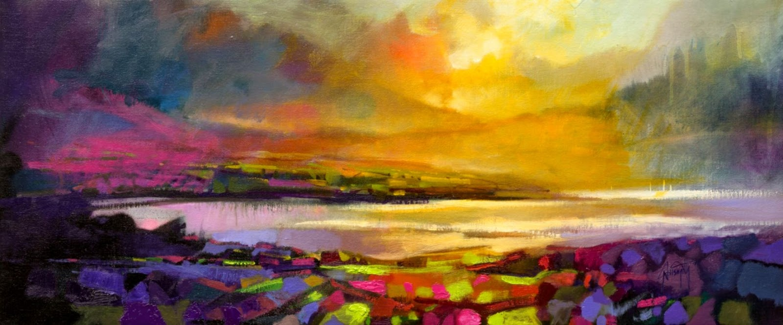 db061a5a7 Highland Heather semi abstract Scottish landscape painting