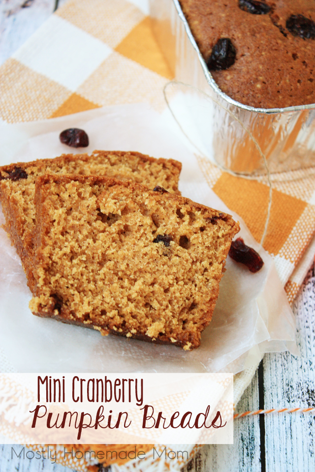 Mini Cranberry Pumpkin Bread