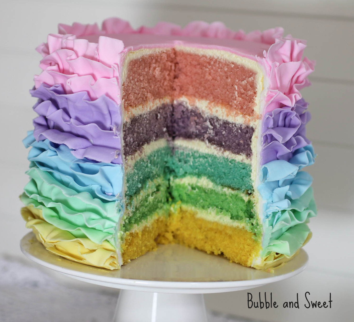 Bubble and Sweet: Pastel Rainbow Ruffle Cake for Easter ...