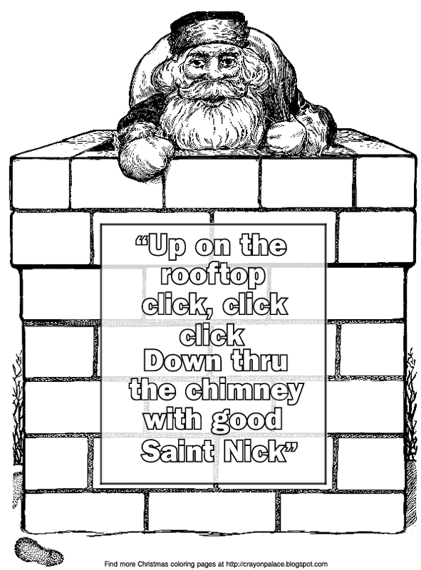 description of coloring page chimney rooftop santa claus delivering gifts saint nick toy bag bricks footprint in the snow