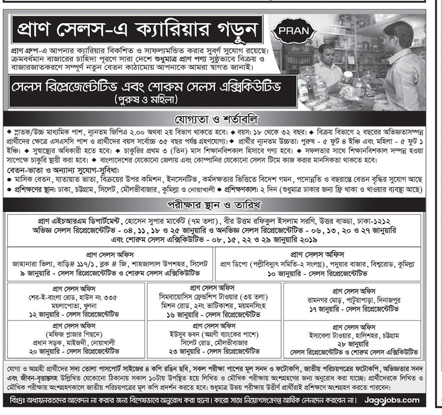 PRAN Group SR Job Circular 2019