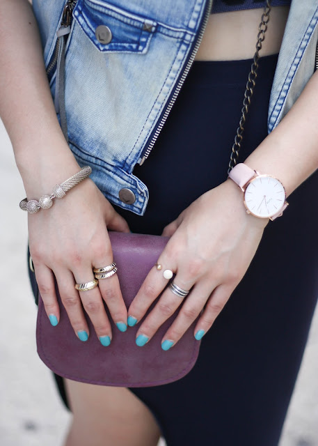 Pink Cluse Watch and Gold Stacked Rings