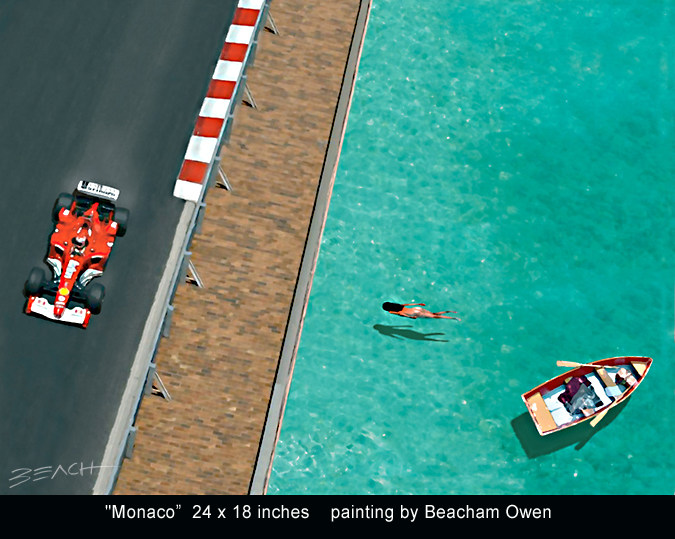 Ferrari with girl swimming from her boat at the Monaco Grand Prix practice art painting by Beacham Owen aka Beach Owen