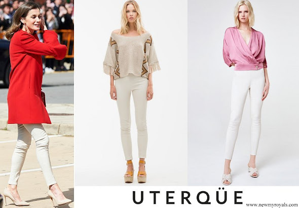Queen Letizia wore Uterque white nappa leggings