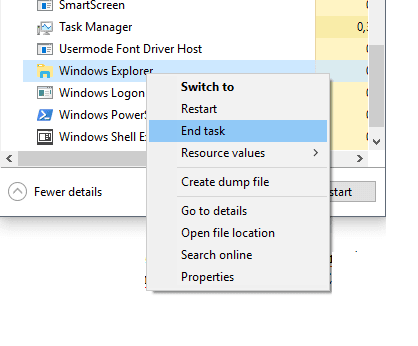 End task Windows Explorer