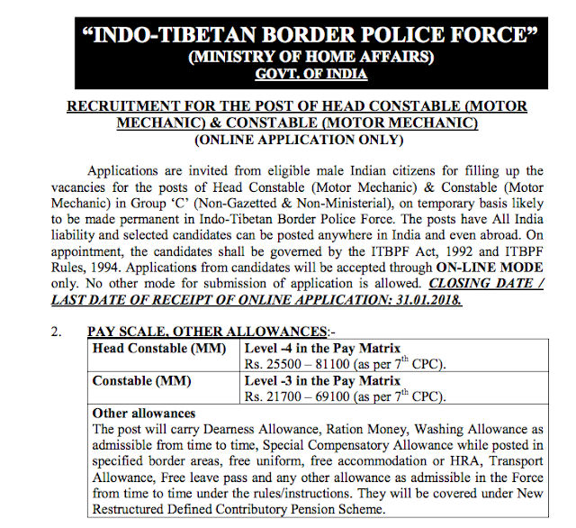 ITBP Head Constable Recruitment Notification PDF Download