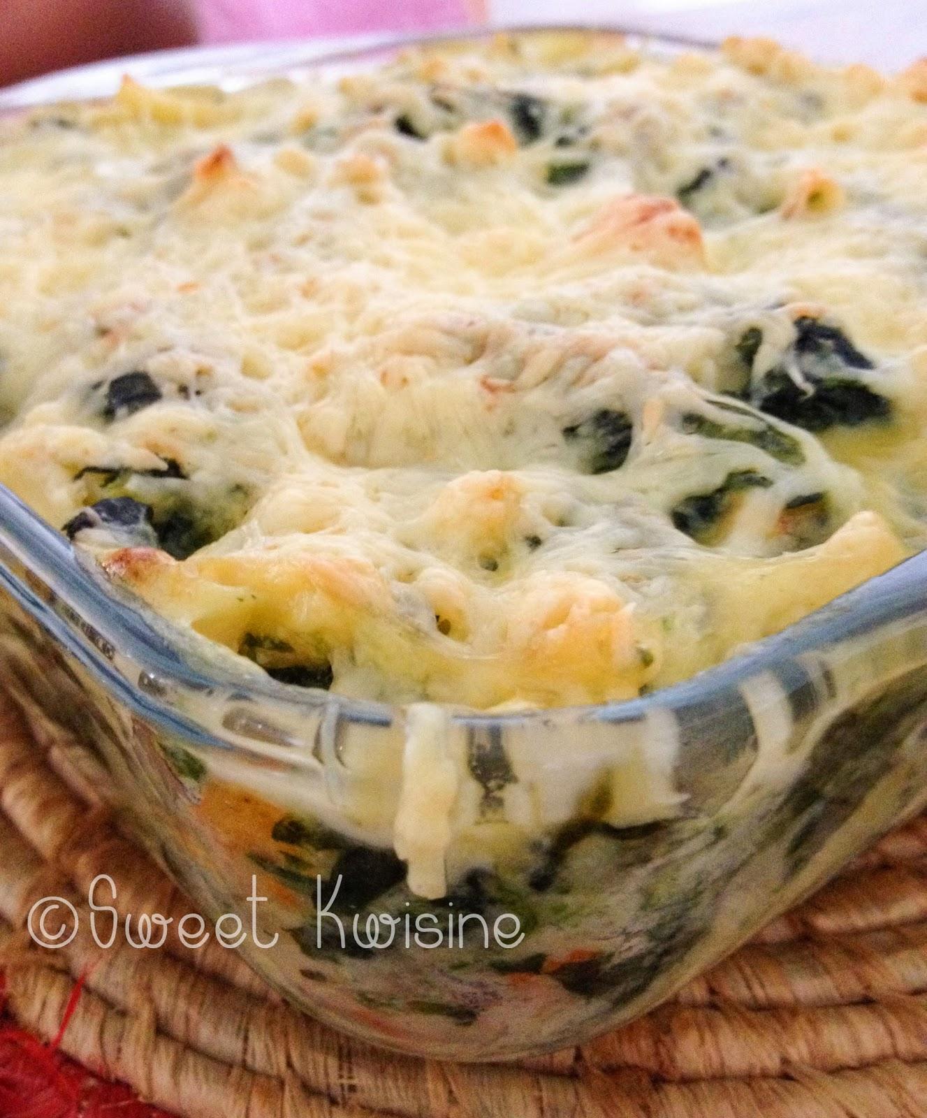 sweet kwisine, pates, pasta, macaroni, gratin, épinard, spinach, crevettes, shrimp, bécahmel, cuisine facile, cuisine familiale