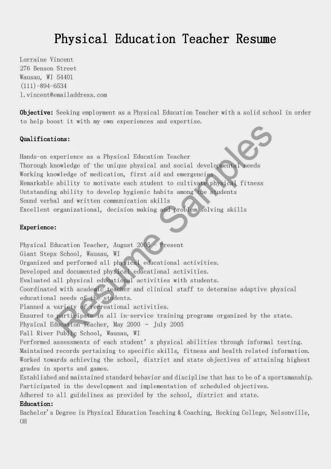 resume samples  physical education teacher resume sample