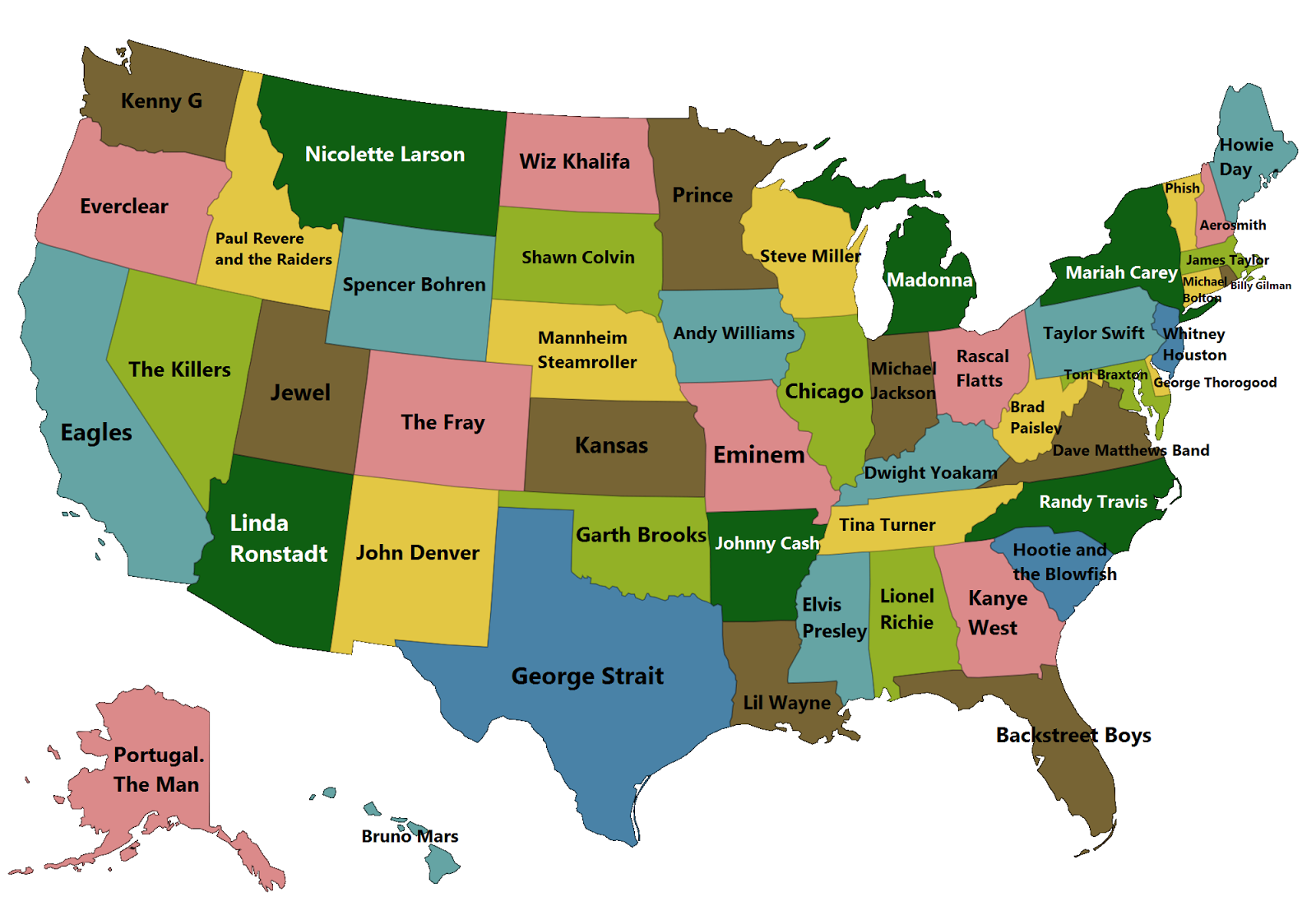 Best selling music artists in each U.S. state