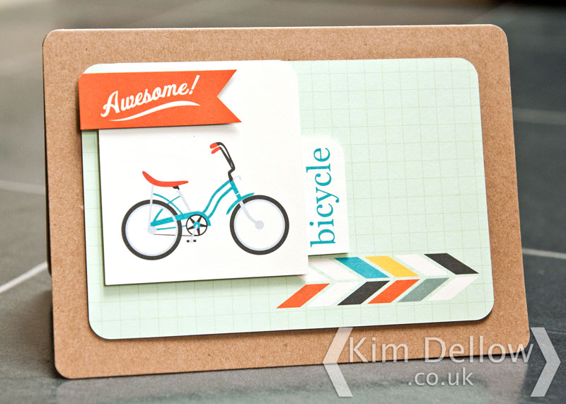 retro bike card made using project life cards