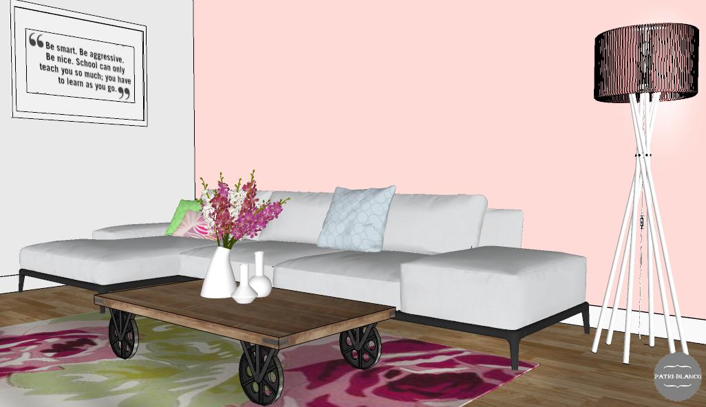Salón con sofa blanco