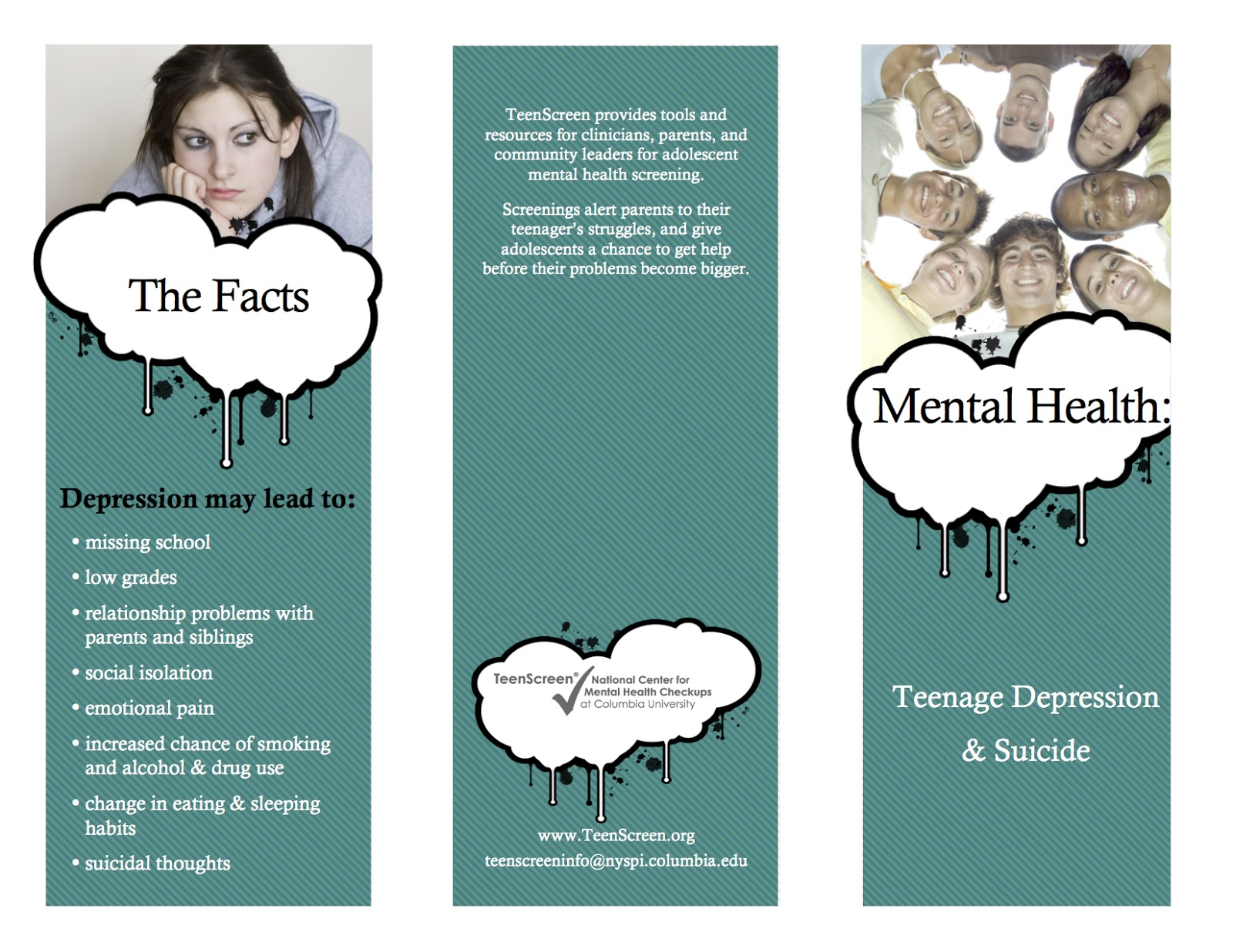Striving For Mental Health Teen Depression & Suicide Brochure