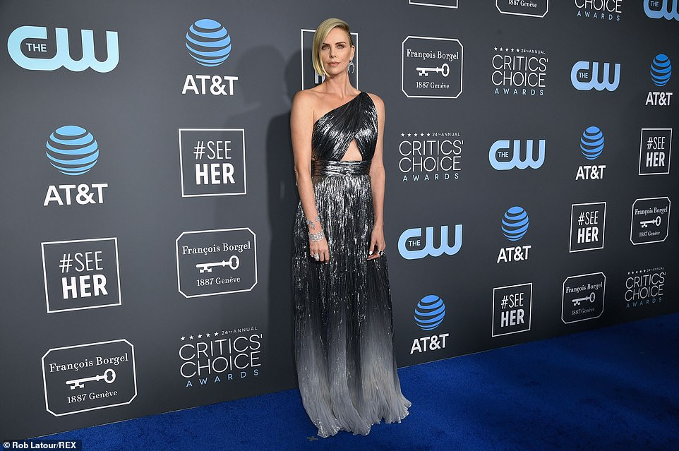 Charlize Theron sparkles in metallic Givenchy at the 2019 Critics' Choice Awards