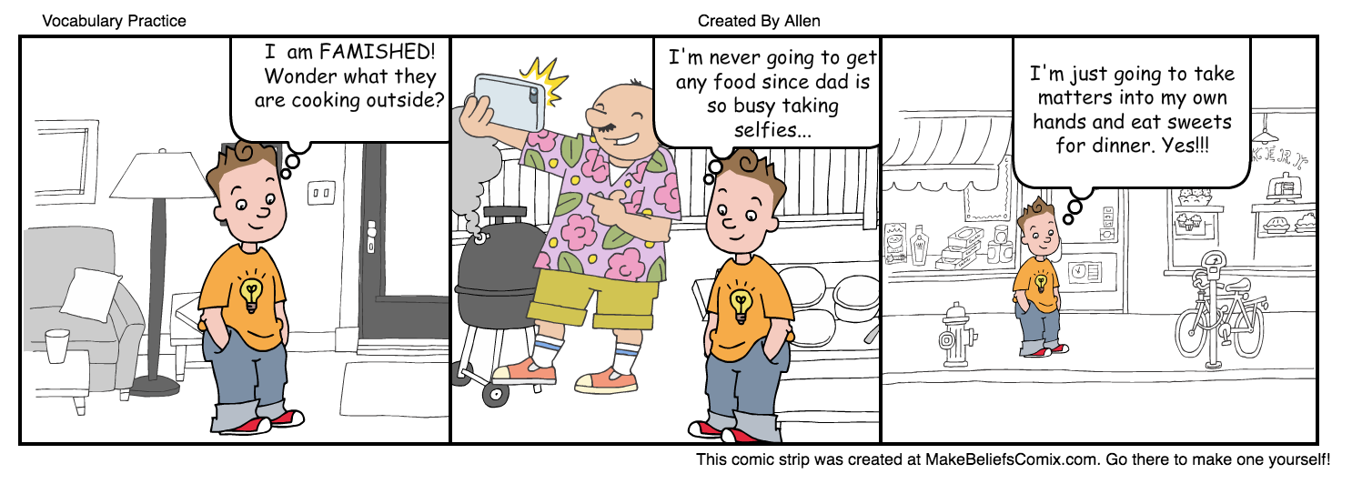 Use the free web tool or app, Make Believe Comics, to create comics using vocabulary words.