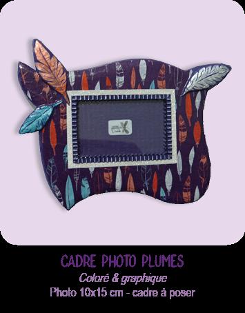 cadre photo en carton à poser plumes de couleur par Cartons Dudulle
