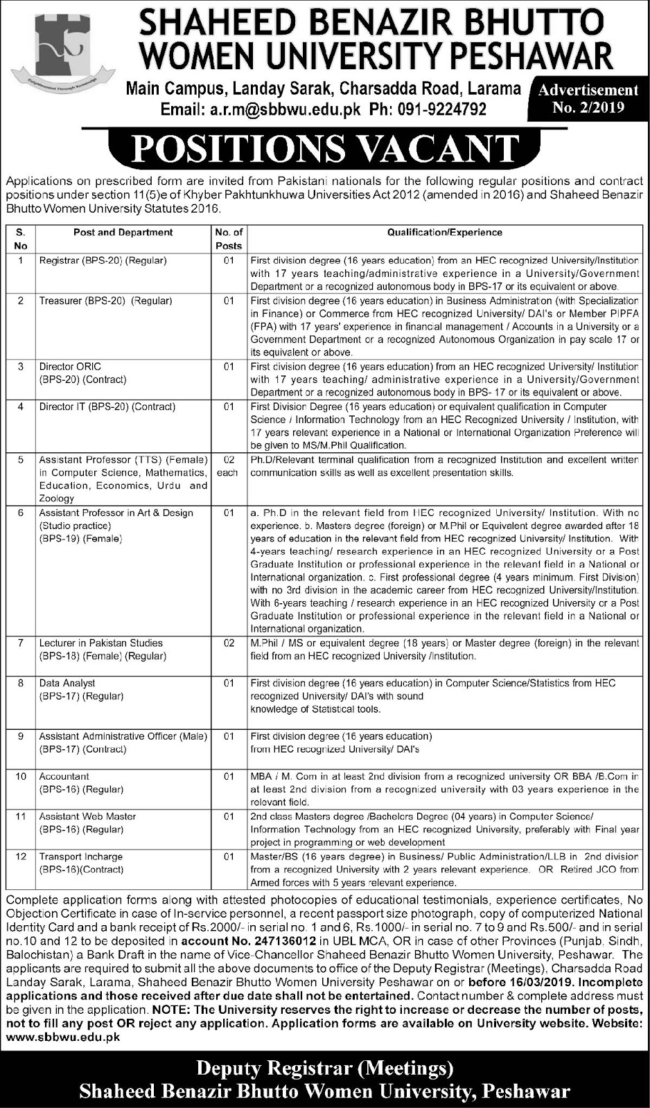 Latest Jobs In Shaheed Benazir Bhutto Women University 03 Mar 2019