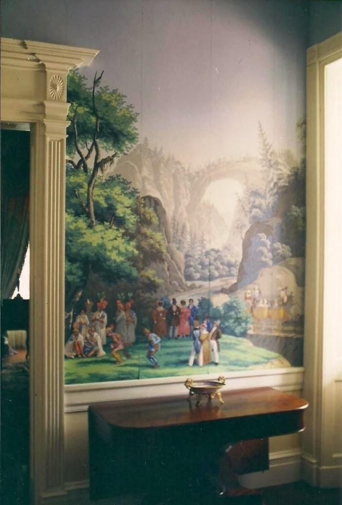 "Hall Monmouth, Natchez, Mississippi -- Zuber scenic wallpaper ""Scenes of America"""