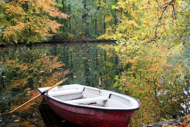 Autumn colours. Foliage. Boat. Reflection