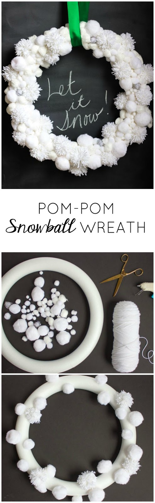 Make this pretty Christmas snowball wreath from white pom-poms!
