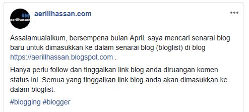 Senarai Blog Terkini (April 2019)