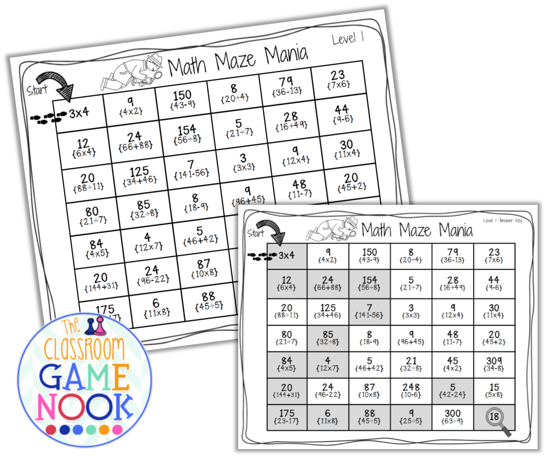 The Classroom Game Nook New Game Math Mazes What Do You