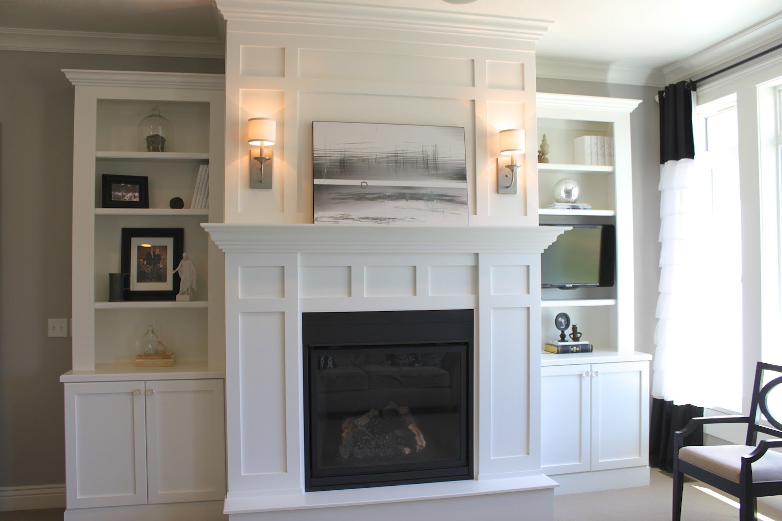 Amy S Casablanca Fireplace Book Shelves