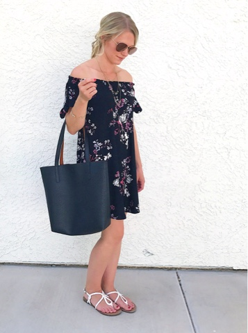 Thrifty Wife, Happy Life- floral off the shoulder dress