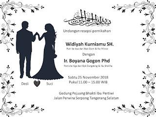 Download template gratis undangan pernikahan powerpoint tema hitam putih