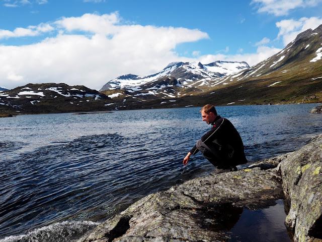 Jezero, Jotunheimen, Martin, příroda, trek, léto, voda
