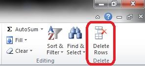 Delete Rows Button