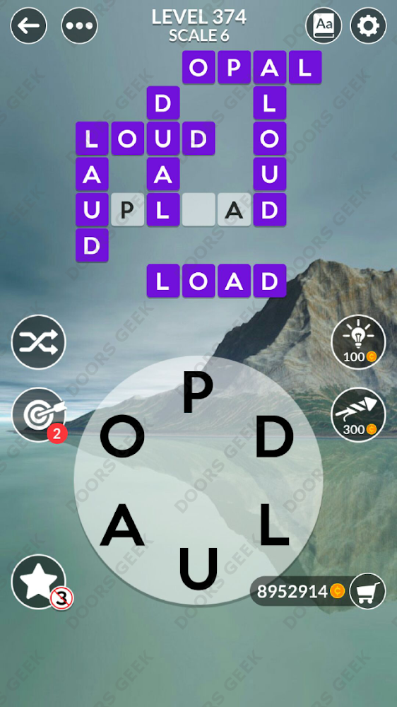 Wordscapes Level 374 answers, cheats, solution for android and ios devices.