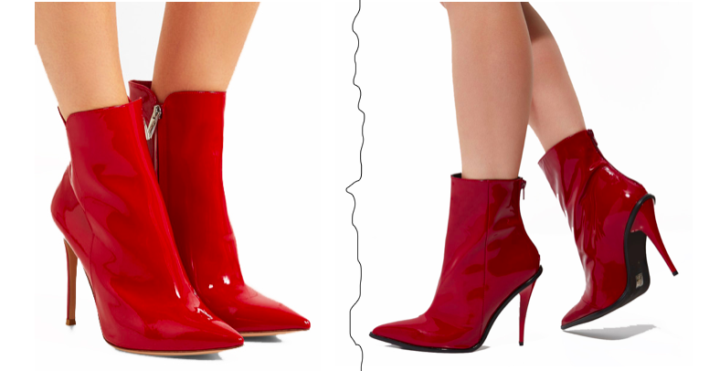 AW17/18 Trend Red Vinyl Ankle Stiletto Boots