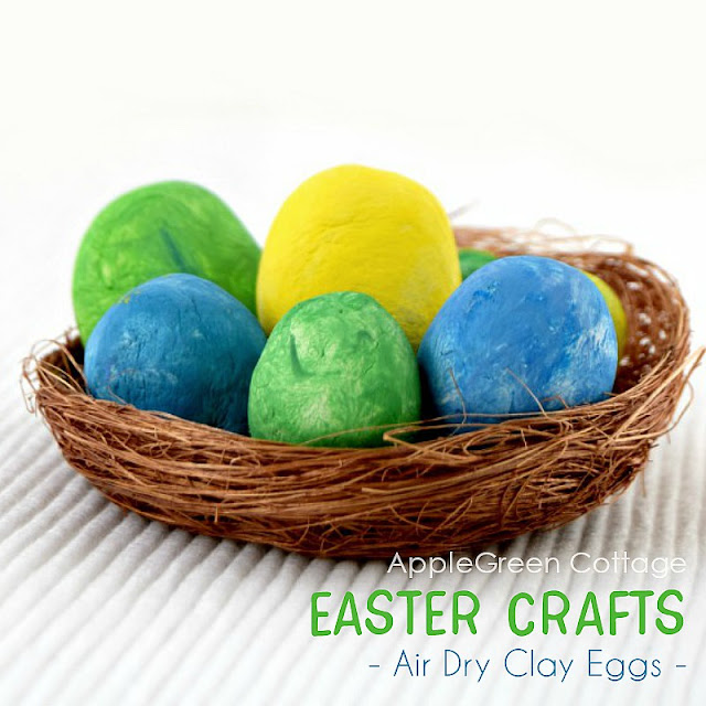 diy Easter decoration with clay eggs
