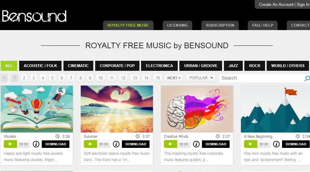 موقع الحصول على الموسيقى المجانية  bensound