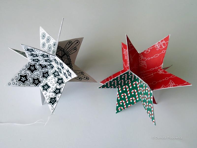 Świąteczna gwiazda na choinkę w stylu Zentangle