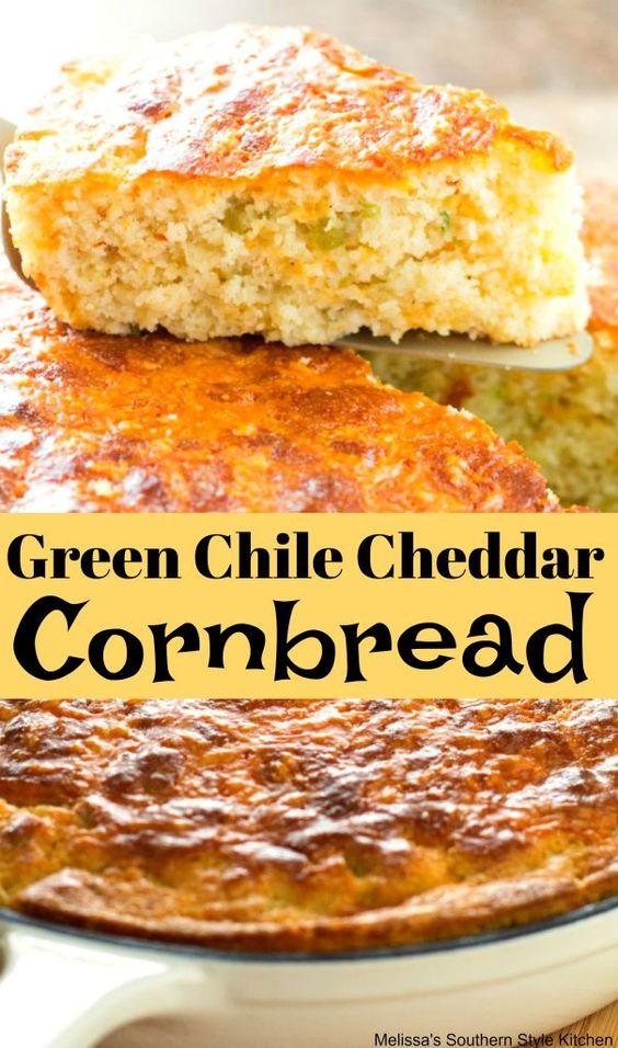 Green Chile Cheddar Cornbread #cornbread #greenchilecornbread #chilies #bread #breadrecipes #recipes #foodie #cheddar #cheddarcornbread