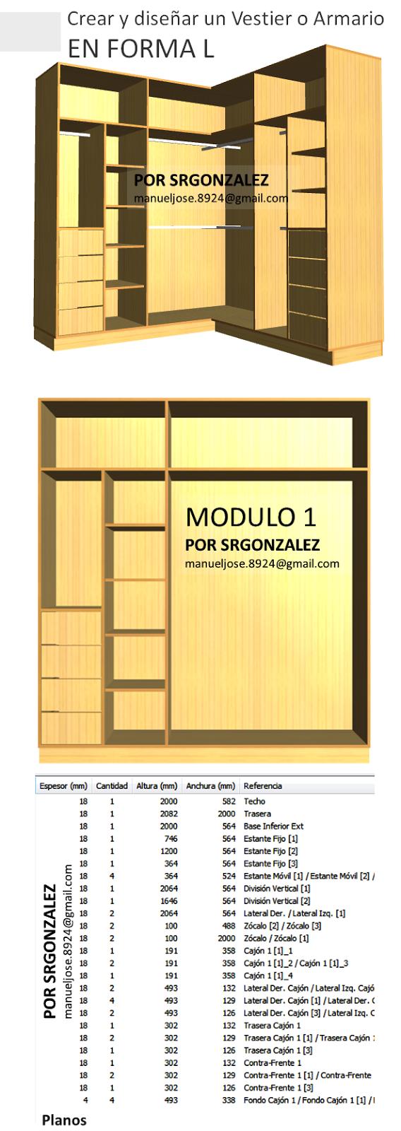 Dise o de muebles madera crear y dise ar un vestier o - Armario en l ...