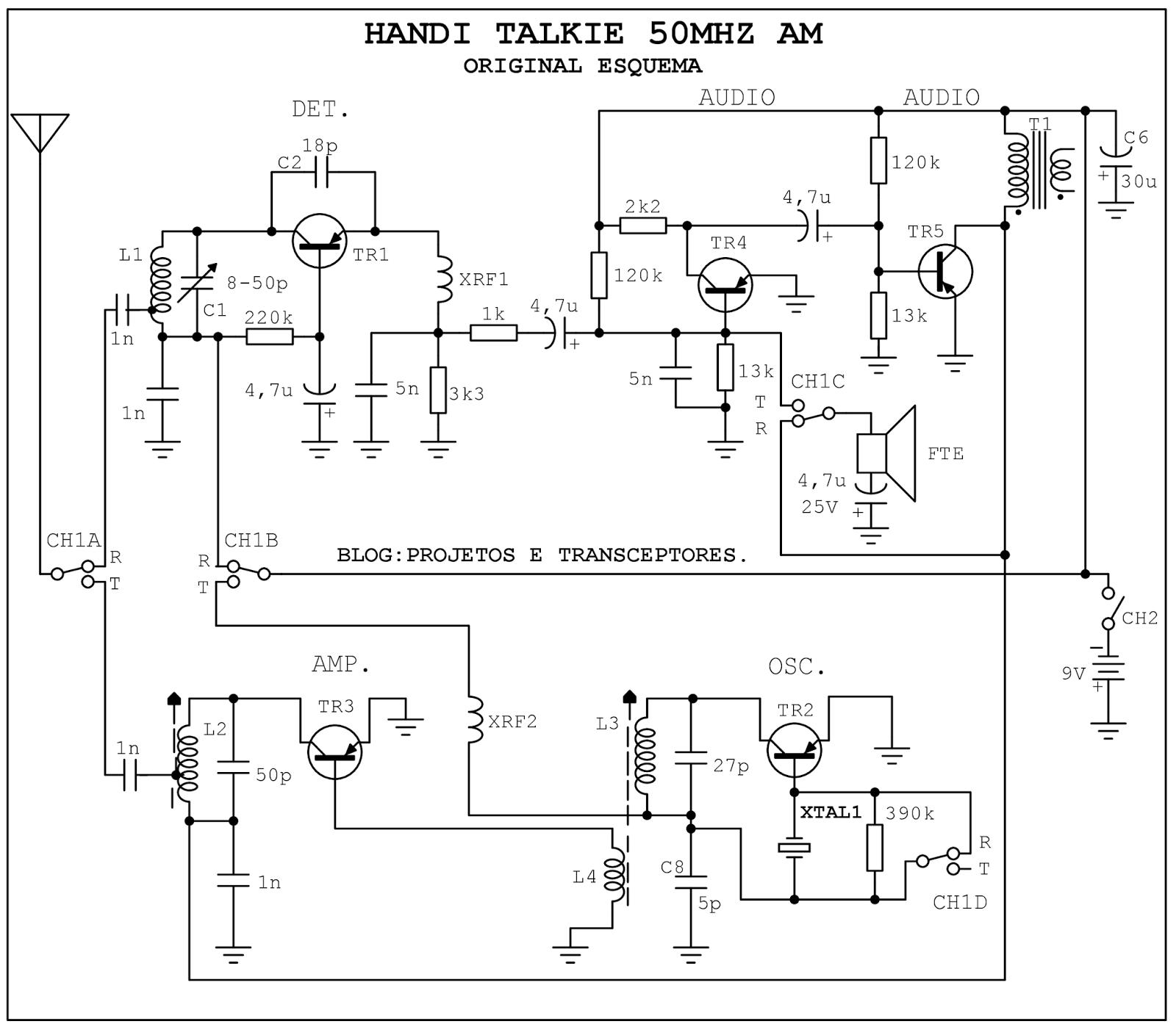 projetos e transceptores   walkie talkie 50mhz am
