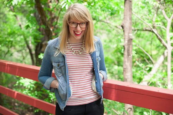 red stripes, denim jacket