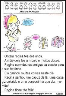 Leitura o aniversário de Regina 1º ano