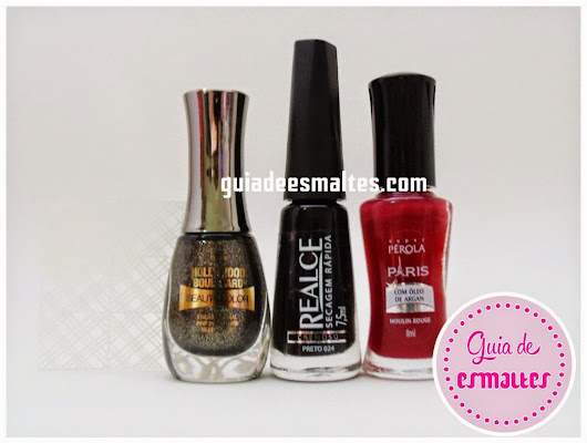 Esmaltes do Dia: Silver Stone - Beauty Color & Moulin Rouge - Super Pérola & Preto - Realce & Adesivos Cia do Dedo