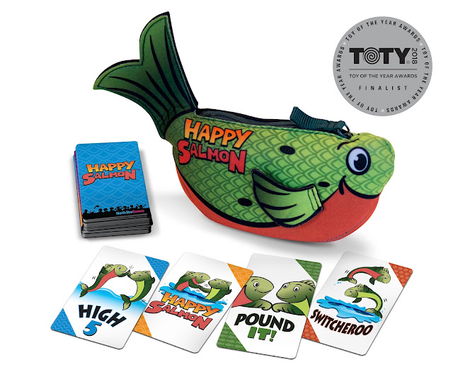 Party Game, Stocking Stuffer Idea, Family Game, Toy of the Year, TOTY18, #TOTY18, Happy Salmon, how to play happy salmon, fun card games, games for adult only party, best games for kids, best card games for kids, card games for kids,