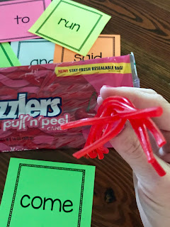 Use Twizzlers to build sight words. Fun and easy!