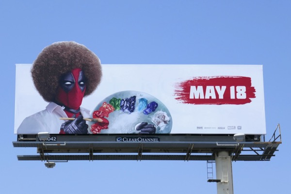Deadpool 2 Bob Ross artist spoof billboard