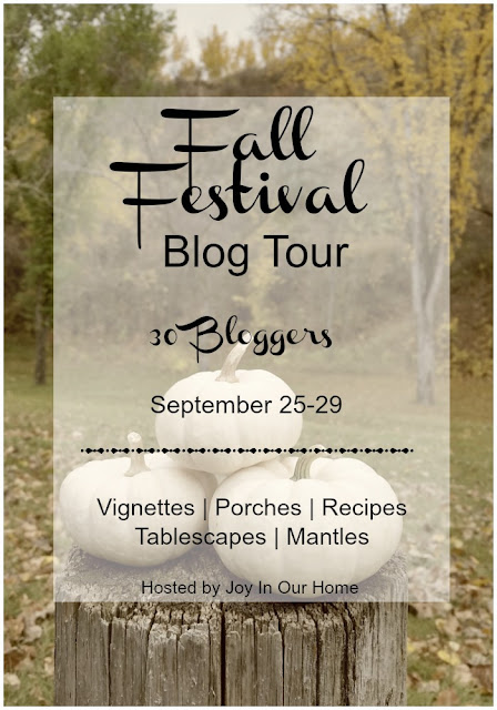 Fall Festival Blog Hop with 30 bloggers featuring inspiring vignettes, porches, recipes, tablescapes, and mantels.