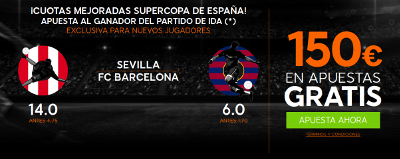 888sport bienvenida 150 euros + supercuota 14 o 6 gana Sevilla o Barcelona 14 agosto