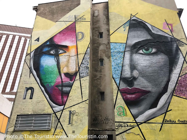 Colourful mural of a face created during Street Art Festival in Bratislava in Slovakia