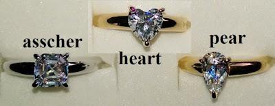 review QVC solitaire ring J326503 J326500 Diamonique Asscher Heart Pear shape cut gold platinum silver