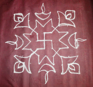 Easy pulli kolam for karthigai deepam step 2