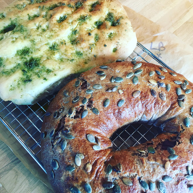 Freshly baked Picnic Loaf and Focaccia